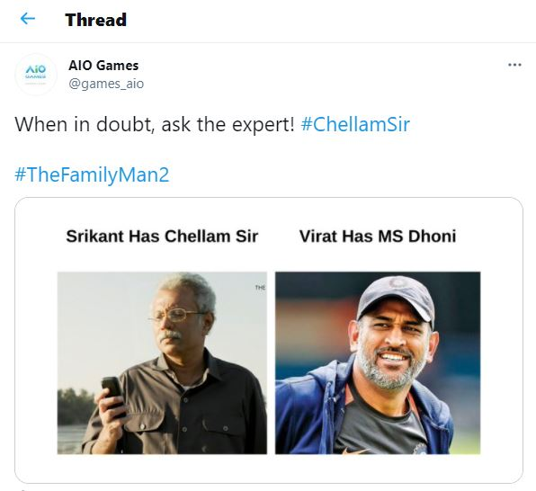 The Family Man 2's Chellum Sir compared to Ex-Indian Captain MS Dhoni