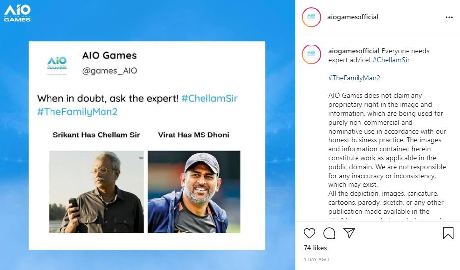 AIO Games Compares The Family Man 2's Chellum Sir to Ex Indian Captain MS Dhoni
